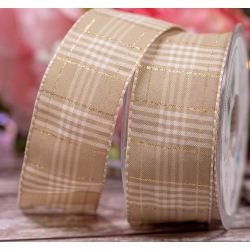 40mm Rustic Plaid Ribbon In Oatmeal By Berisfords Ribbons