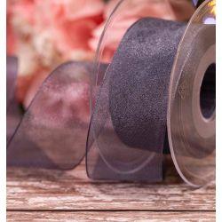 Smoked Grey Sheer Ribbons | Organza Ribbons 40mm x 25m By Berisfords Ribbons Col: 669