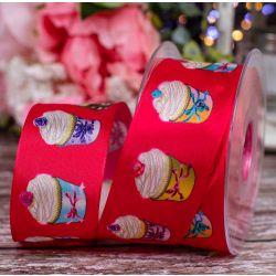 40mm wired edged taffeta ribbon with cupcake design