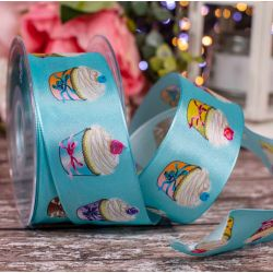 40mm Wired Edged Turquoise Taffeta Ribbon With Cupcake Design