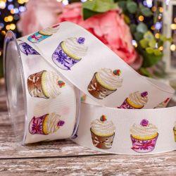 40mm White Wired Edged Taffeta Ribbon With Cupcake Design