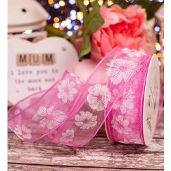 Pink Translucent Ribbon With White Floral Print 40mm x 20m