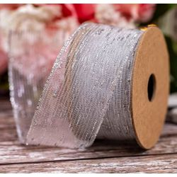 40mm Tinsel Mesh In Silver By Berisfords Ribbons