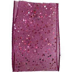 Random Glitter Sheer Ribbon Col: Shocking Pink