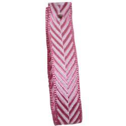 Pink 25mm Herringbone Ribbon Article 1392