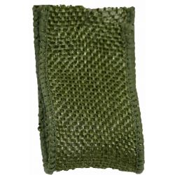 Woven Hessian Ribbon With Wired Edging 38mm x 10m Col: Moss Green