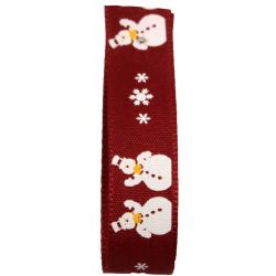 Red Snowman Ribbon 15mm x 20m Article 14300