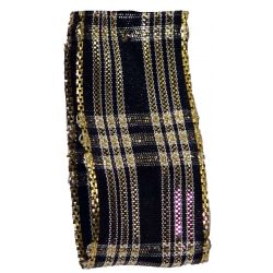 Wired Christmas Tartan Style Ribbon Black & Gold - available in either 25mm & 40mm widths