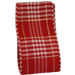 Rustic Plaid Ribbon In Red