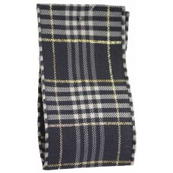 Rustic Plaid Ribbon In Grey