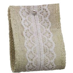Linen & Lace Ribbon 50mm x 5yrds With White Lace Overlay