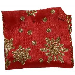 63mm x 10yds Wired Edged Red Satin With Gold Snowflake design