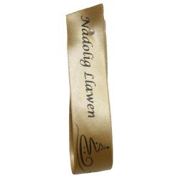 Gold Welsh Christmas Ribbon Nadolig Llawen 25mm