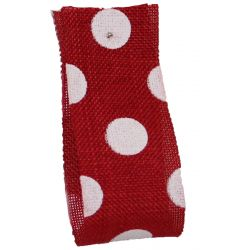Faux Burlap Ribbon In Red With White Polka Dot Design - 25mm x 20m