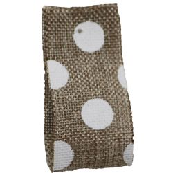 Faux Burlap Ribbon In Natural With White Polka Dot Design - 25mm x 20m