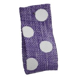 Faux Burlap Ribbon In Lilac With White Polka Dot Design - 25mm x 20m