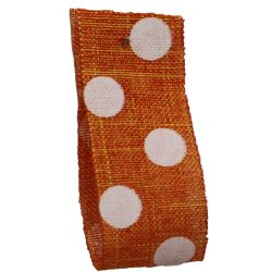Faux Burlap Ribbon In Orange With White Polka Dot Design - 25mm x 20m