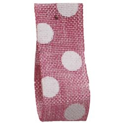Faux Burlap Ribbon In Pink With White Polka Dot Design - 25mm x 20m