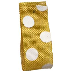 Faux Burlap Ribbon In Yellow With White Polka Dot Design - 25mm x 20m