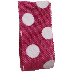 Faux Burlap Ribbon In Hot Pink With White Polka Dot Design - 25mm x 20m