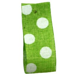 Faux Burlap Ribbon In Green With White Polka Dot Design - 25mm x 20m