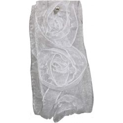 White Sheer Ribbon With Woven Rosettes 38mm x 3m
