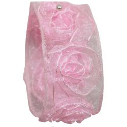Pink Sheer Ribbon With Woven Rosettes 38mm x 3m