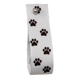 16mm X 25m White Grosgrain Ribbon With Paw Print Design