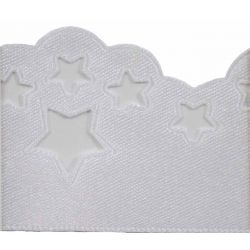 Scatter Star Satin Ribbon Col;  White