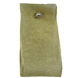 Festive Gold Sheer Ribbons 25mm x 25m By Berisfords Ribbons col: 910