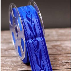 50mm Blue Velvet Ribbon With Embossed Design