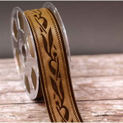50mm Brown Velvet Ribbon With Embossed Design