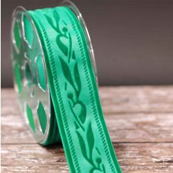 50mm Green Velvet Ribbon With Embossed Design