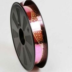 Foil Look Pink Poly Ribbon With Star and Dot Design 25mm x 75yrds