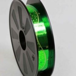 Foil Look Green Poly Ribbon With Star and Dot Design 25mm x 75yrds