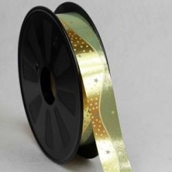 Foil Look Gold & Green Poly Ribbon With Star and Dot Design 25mm x 75yrds