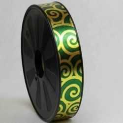 Green & Gold Swirl Design Curling / Florist Ribbon 25mm x 75yrds
