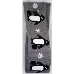 Penguins Print Christmas Ribbon 15mm x 20m - Grey