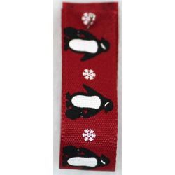 Penguins Print Christmas Ribbon 15mm x 20m  - Red