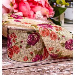 Cut Edge Burlap Floral Design Ribbon 60mm x 10m