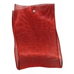 Wide Red Metallic Look Sheer Ribbon 38mm x 25m