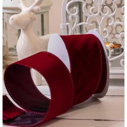 100mm wide wired edged velvet ribbon ideal for Christmas Work