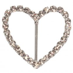 4 x Heart Shaped Diamante Buckles