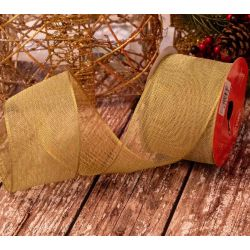 63mm Gold Mesh ribbon With Wired Edge
