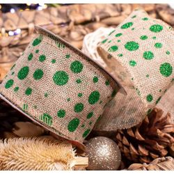 Natural Hessian Wire Edged Ribbon with Green Glitter Spot Design 63mm x 9.1m