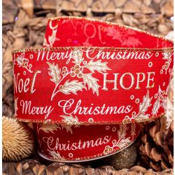 Merry Christmas Ribbon by Apac - Red and Gold 63mm x 9.1m