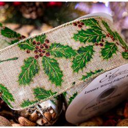Edge Holly Design Christmas Ribbon