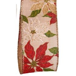 cream and red poinsettia ribbon