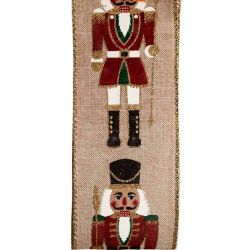 Nutcracker Christmas Ribbon With Wired Edge