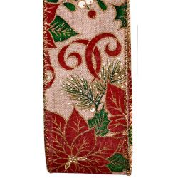 Poinsettia Christmas Ribbon With Wired Edge